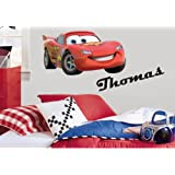 Disney Cars Lighting Mcqeen & Personalised Name Coloured Wall Art Decal Sticker Boys Bedroom (60cm x 35cm)