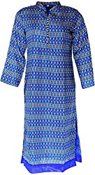Sapphire Women's Cotton Straight Kurta (Blue, Large)