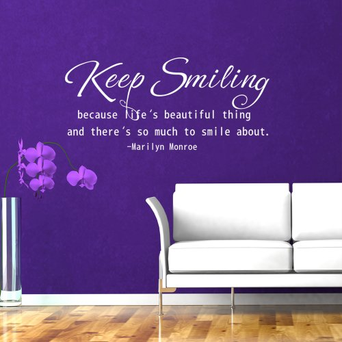 wandaufkleber wandtattoo marilyn monroe zitat englischer text keep smiling because life is a. Black Bedroom Furniture Sets. Home Design Ideas