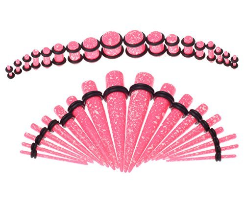 Taper Kit 36 Pieces Spots Pink Acrylic Tapers and Plugs O-Ring 14G-00G Taper Stretching Kit - 18 Pairs (Plug Set 14g 00g compare prices)