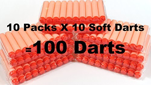100-dart Refill Set Orange Darts 100 Pack compitable with Nerf N-strike Elite Rampage/retaliator Series Blasters ,And Most of Nerf Dart Guns, and BuzzBee Guns, BlaydesSales - 1