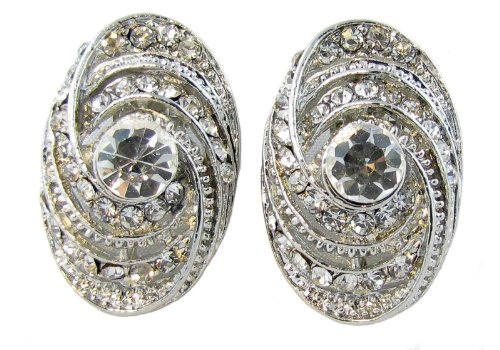Silver Tone Metal Clip On Earring - 1.2