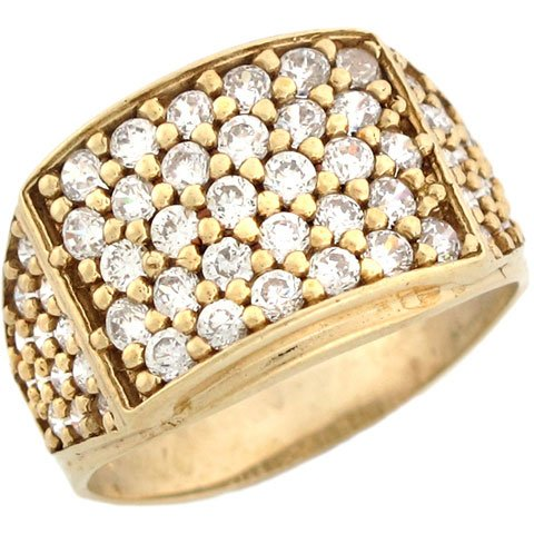 14ct Yellow Gold Mens CZ Rectangle Five Row Cluster Ring