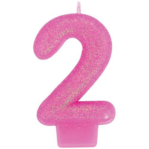2 Glitter Numeral Candle - 1