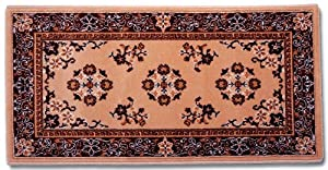 "Beige Oriental 44""x22"" Rectangular Wool Fireplace Hearth Rug"