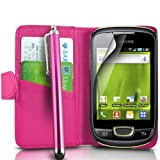 Mega.Deals4U® - PU Leather Flip Card Wallet Case For SAMSUNG GALAXY MINI GT S5570 INCLUDING STYLUS PEN + SCREEN PROTECTOR + CLEANING CLOTH (Pink)