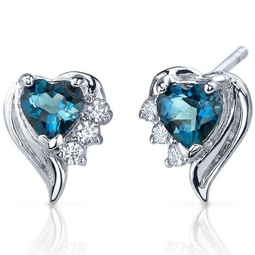 1.5 Ct Londres topaze bleue motif cœur pendentif argent sterling .925