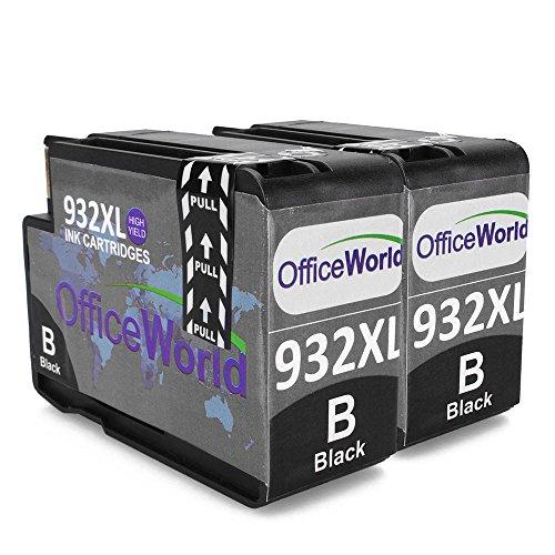 OfficeWorld Neu Aktualisiert 932XL 2 Schwarz Tintenpatronen für HP Officejet 6100 6600 6700 7110 7610 7612 [Bitte beachten Sie 7510 7512 kann nicht verwendet werden]