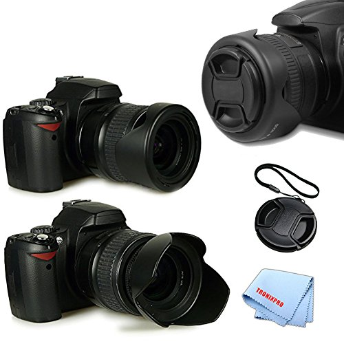 Tronixpro 58mm Hard Tulip Reversible Lens Hood Kit for Canon 70D, 5D, 5DS, 5DII, 5DIII 50D, 60D, 7D, 7DII, 80D, 5DS R, Center Pinch Lens Cap, Lens Cap Keeper & Microfiber Cloth (Tulip Hood And Battery compare prices)