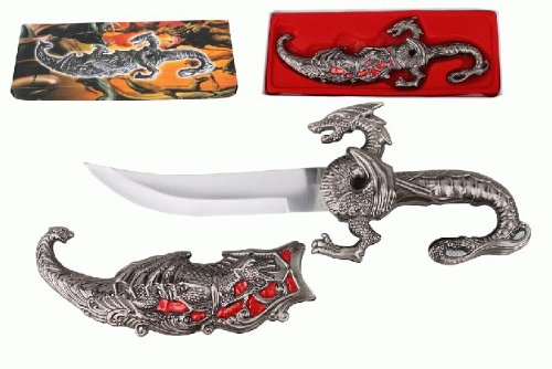 """10"""" Fantasy Dragon Dagger With Gift Box (Red Fitting)"""