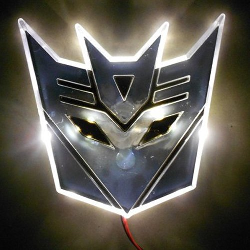 Edge Glowing Led Transformers Decepticons Car Emblem - White