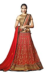 Snapyshopy Designer Red Bridal Wedding Party Wear Net Lahenga Choli