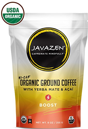 Javazen Hi-Caf Boost | Organic, Dark Roast, Ground Coffee with Yerba Mate and Acai | USDA Certified Organic, Non-GMO, Kosher, 9oz (15 Servings) (Yerba Mate Tea Dark Roast compare prices)
