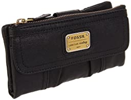 Fossil Emory Zip Wallet, Black, One Size