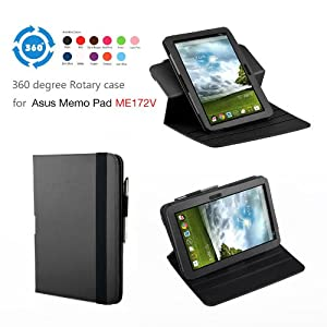 Exact (TM) 360 degree Rotary case for ASUS MeMO Pad ME172V 7-Inch Android Tablet Black