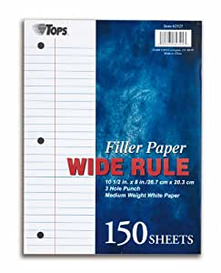 TOPS Filler Paper, Wide Rule, 10.5 x 8 Inches, 16 Pound, 150 Sheets, White, (62325)