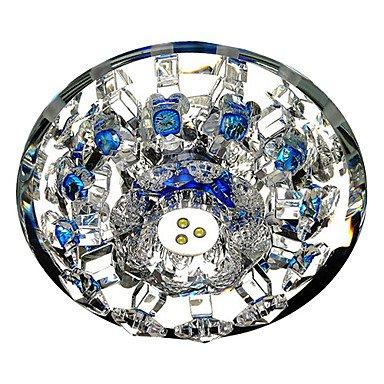 Led Crystal Flush Mount, 1 Light, Modern Metal Crystal Electroplated