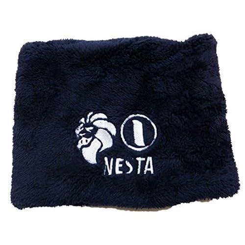 NESTA BRAND(ネスタブランド)ライオン刺繍ボアネックウォーマー/NAVY×WHITE ネイビー×ホワイト