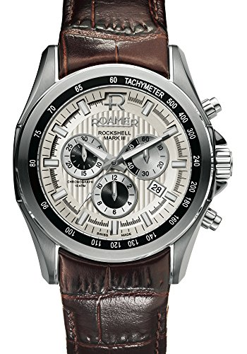 Roamer Rockshell Chrono Men's Quartz Watch with Silver Dial Chronograph Display and Brown Leather Strap 220837 41 15 02