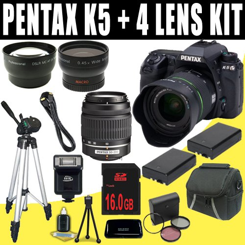 Pentax K-5 16.3 MP Digital SLR with 18-55mm Lens and 3-Inch LCD and 50-200mm f/4-5.6 Lenses (Black) + Two DLI90 Battery + 16GB SDHC + Wide Angle / Telephoto Lenses DavisMAX Accessory Kit Bundle Reviews
