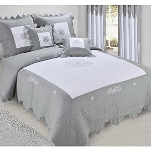 couvre lit boutis 2 places chantilly grande largeur gris cuisine maison. Black Bedroom Furniture Sets. Home Design Ideas