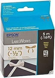 Epson LabelWorks Ribbon Tape Cartridge ~ 1/2-Inch Gold on White (LC-4WKK5)