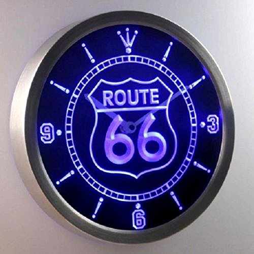 Best Gift Route66 Design LED Wall Clock Bar Beer Show Sign Neon LED Wall Clock,Plate Wall Clock Round Route 66 Smart Famous Rustic Rest Room Design (Emerson Humidifier Paper compare prices)