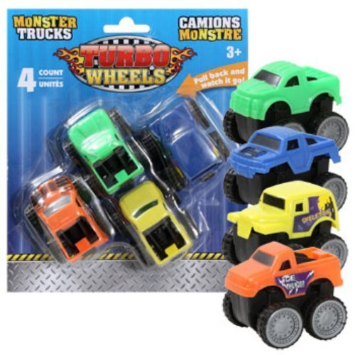 Turbo Wheels Plastic Monster Trucks, 4-ct. Packs