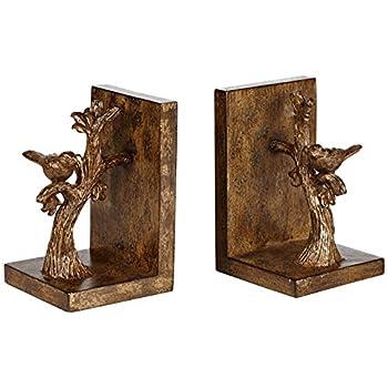 Bird on Branch Bronze Bookends Set