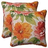 Pillow Perfect Indoor/Outdoor Primro Corded Throw Pillow, 18.5-Inch, Orange, Set of 2