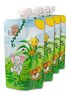 NANAFERA Baby Food Squeeze Pouches (Set of 4) - Reusable & Refillable - BPA & PVC Free - Dishwasher & Freezer Safe - Extra Wide Bottom Opening for Easy Filling and Cleaning - Safe for Homemade Food - Makes It Easy for Children to Eat - Plus Free Bonus