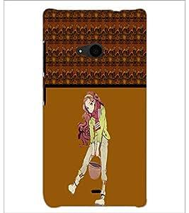 PrintDhaba Cute Girl D-4274 Back Case Cover for MICROSOFT LUMIA 535 (Multi-Coloured)