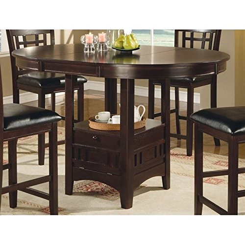 Coaster Counter Height Dining Table Extension Leaf Dark Cappuccino Finish (Round Dining Table Set For 4 compare prices)