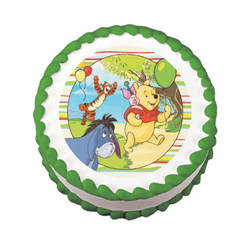 "8"" Round ~ Winnie the Pooh ~ Off To the Party ~ Edible Image Cake/Cupcake Topper!!!"