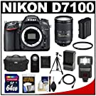 Nikon D7100 Digital SLR Camera Body with 18-300mm Lens + 64GB Card + Battery & Charger + Case + Flash + Filter + Tripod + Accessory Kit