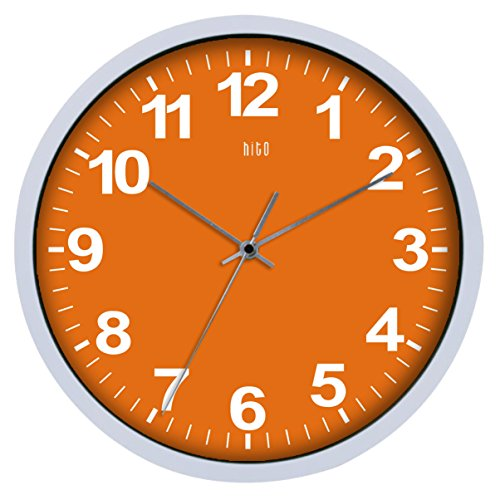 HITO-Silent-Non-ticking-Colorful-Wall-Clock-12-Inches-Orange