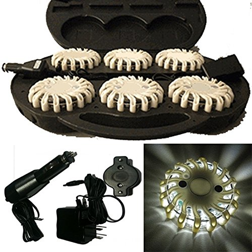 6 Pack White Rechargable Waterproof Led Magnet Safety Flare With 9 Operating Modes + Free Chargers And Travel Case