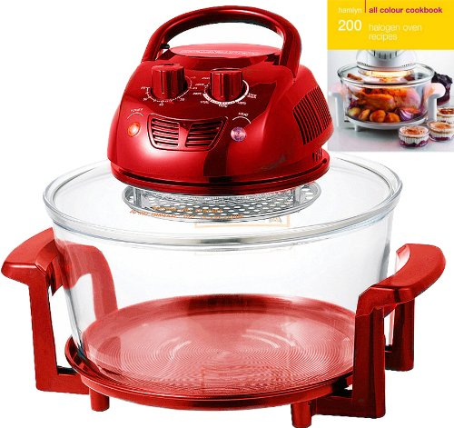 Designer Habitat 12 Litre Premium 1400w Red Halogen Oven Cooker complete with Extender Ring (to 17 Litre), Lid Holder, Steamer, Frying Pan, Skewers, Low Rack, High Rack, Glove plus FREE 200 page ALL COLOUR Recipe book by Hamlyn RRP £4.99
