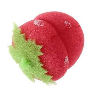 Bingo-uk 12x Strawberry Balls Hair Care Soft Sponge Rollers Curlers Sponge Ball Hair Styler Curler Roller Tool Strawberry Shape--Red