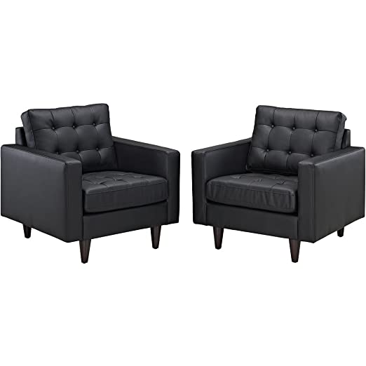 Florence Knoll Baliette Black Leather Armchair Set of 2 FMP252887