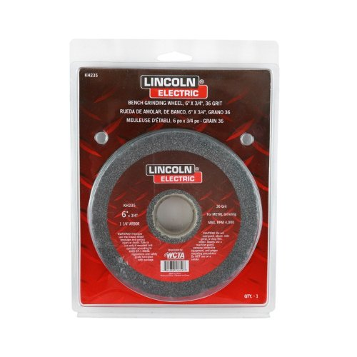 "Lincoln Electric Kh235 Bench Grinding Wheel, Aluminum Oxide, 4000 Rpm, 6"" Diameter, 1-1/4"" Arbor, 36 Grit (Pack Of 3)"