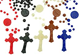 Saint St Benedict Cord Rosary, 100 Pack, Assorted Color
