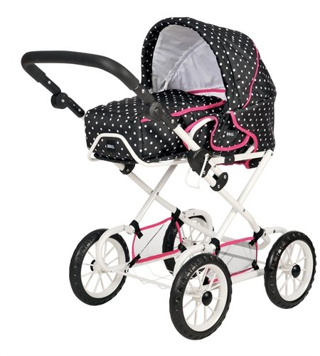 BRIO 90321 BRIO Doll Pram Combi Black with Dots