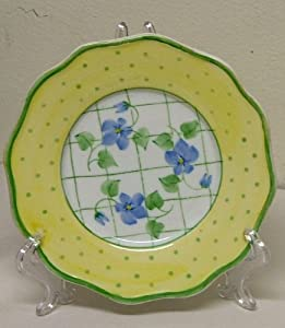 Yellow and Green Polka Dots and Violets Porcelain Plate with Stand