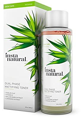 InstaNatural Mattifying Facial Toner - Dual Phase for Facial Oil Control & Matte Skin - Anti Shine Daily Primer with Pure & Natural Mineral Extracts - Alcohol Free Pore Reducer for All Day Beauty Care