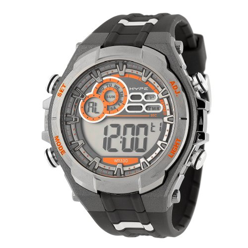 Herren Chronograph 341002ORGY Gun Metal Grau und Orange Digitale Sport Watch