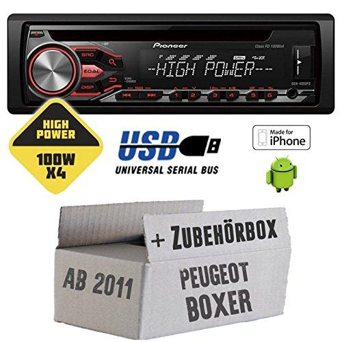 Peugeot boxer 2 modèles à partir de 2011, pioneer dEH - 4800FD highPower - 4 x 100 w cD/mP3/uSB avec kit de montage