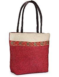 Saffron Craft Women Green Mirror Work Shoulder Bag