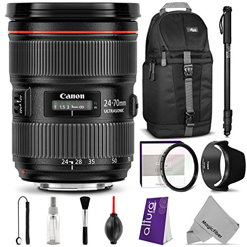 Canon-EF-24-70mm-f28L-II-USM-Standard-Zoom-Lens-w-Essential-Bundle-Includes-Camera-Sling-Backpack-Monopod-Altura-Photo-Ultra-Slim-UV-Camera-Cleaning-Set