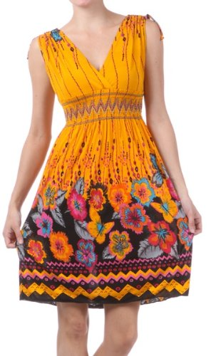 FO2-216 Flower and Butterflies Graphic Print V-Neck Sleeveless Empire Waist Short Dress (Tangerine, One Size)